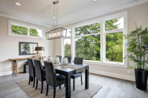 dining room with casement and awning windows
