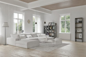 living room with casement and awning windows