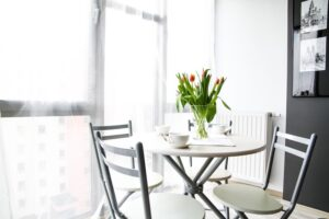 breakfast nook with small table
